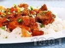 Рецепта Печено свинско месо с домати, печени чушки червено вино в йенска тенджера